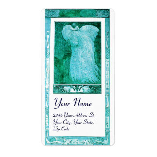 WEDDING LOVE PEACOCK , blue turquase white Shipping Label