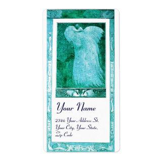 WEDDING LOVE PEACOCK , blue turquase white Shipping Label