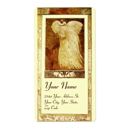 WEDDING LOVE PEACOCK , brown yellow cream Personalized Shipping Labels