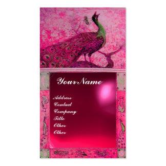 WEDDING LOVE PEACOCK MONOGRAM pink red ruby Business Card