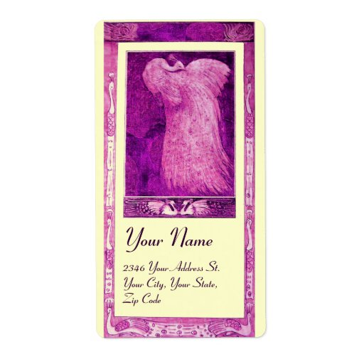 WEDDING LOVE PEACOCK ,pink purple violet cream Personalized Shipping Labels