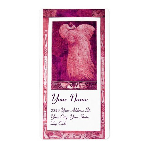WEDDING LOVE PEACOCK ,pink red violet white Shipping Label