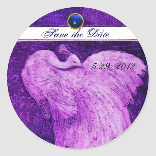 WEDDING LOVE PEACOCK white purple blue sapphire Round Stickers
