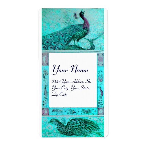 WEDDING LOVE PEACOCKS ,blue turquase white Shipping Labels