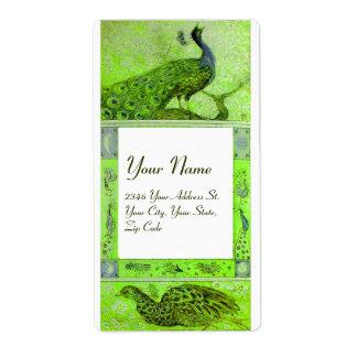 WEDDING LOVE PEACOCKS ,green white Shipping Label