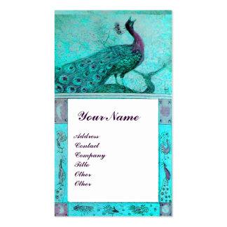 WEDDING LOVE PEACOCKS MONOGRAM blue turquase white Business Card