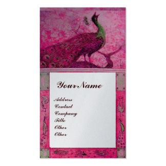 WEDDING LOVE PEACOCKS MONOGRAM pink fuchsia silver Business Card