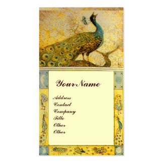 WEDDING LOVE PEACOCKS MONOGRAM yellow brown cream Business Card