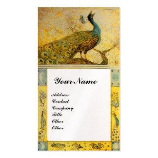 WEDDING LOVE PEACOCKS MONOGRAM, yellow brown pearl Business Card