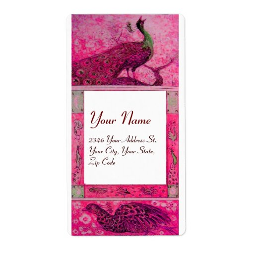 WEDDING LOVE PEACOCKS ,red fuchsia pink white Custom Shipping Labels