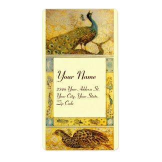 WEDDING LOVE PEACOCKS ,yellow brown cream Shipping Label