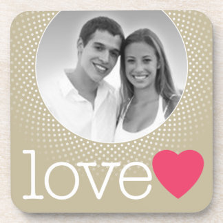 Wedding - Love Photo Border with pink heart Coaster