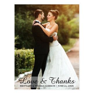 Wedding Love & Thanks Bride & Groom Photo Postcard