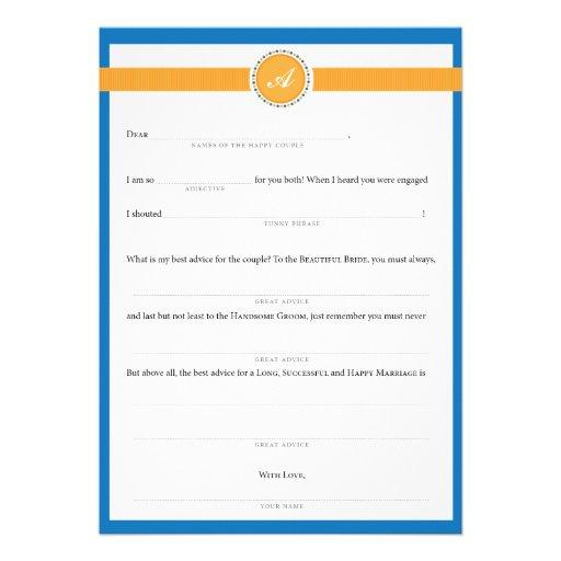 Wedding Mad Libs Ribbon Monogram Orange Custom Invitations