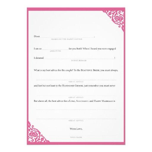 Wedding MadLibs Pink Vine Custom Announcement