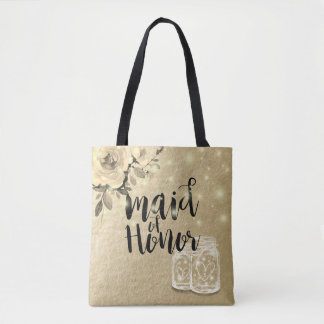 Wedding Maid of Honor Floral Mason Jar Lights Gold Tote Bag