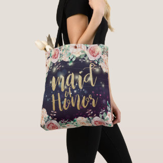 Wedding Maid of Honor Floral Purple Sparkle Lights Tote Bag