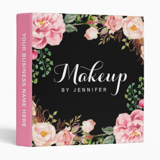 Wedding Makeup Beauty Salon Romantic Floral 3 Ring Binders
