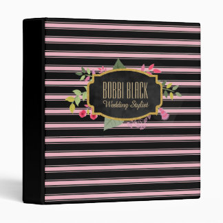 Wedding Makeup Stylist | Pink Black Striped Floral Binders