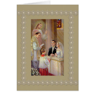 Wedding Marriage Bride Groom Jesus Priest Card
