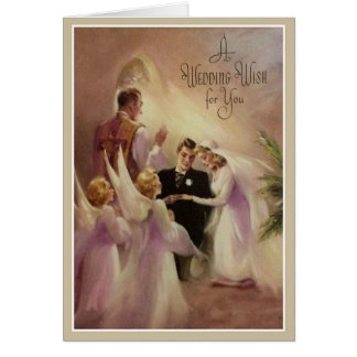 Wedding Marriage Bride Groom  Priest Angels Card