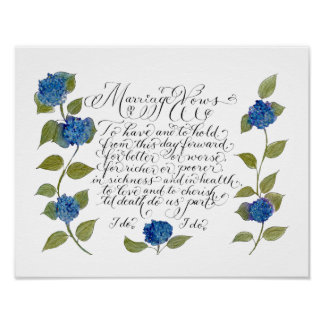 Wedding marriage vows typography artwork poster