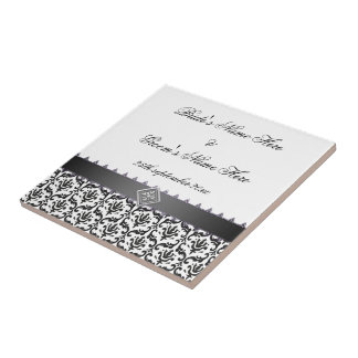 Wedding Memento Tile Stylish Black & White Damask