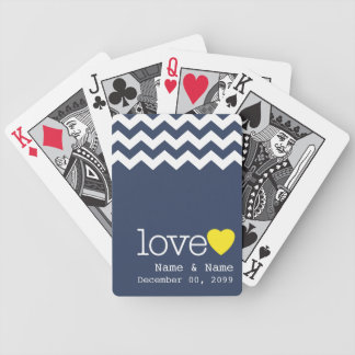 Wedding Memento with modern chevron pattern Bicycle Playing Cards