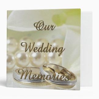 Wedding Memories Romantic Gold Typography Pearls 3 Ring Binders