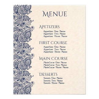 Wedding Menu Beige Linen & Dark-Blue Lace Flyer