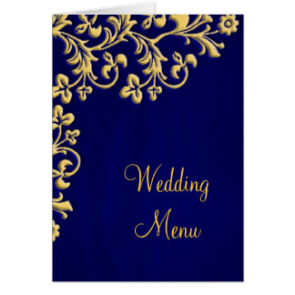 Wedding menu blue and gold brocade card
