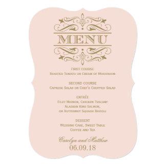 "Wedding Menu Card | Antique Gold Flourish 5"" X 7"" Invitation Card"
