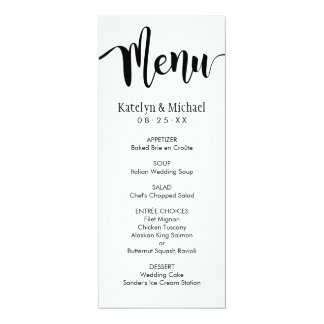 Wedding Menu Card   Black Script