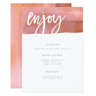 Wedding Menu Card, Coral, Pink Watercolor Card