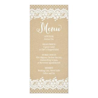 "Wedding Menu Card | Lace and Kraft 4"" X 9.25"" Invitation Card"