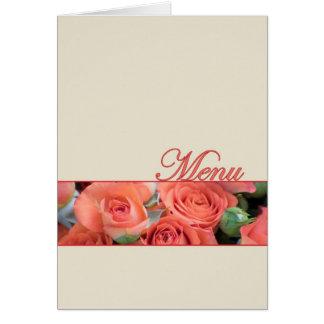 Wedding Menu Card Peach Roses Cream