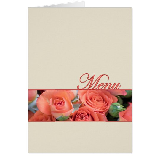 Wedding Menu Card Peach Roses Cream