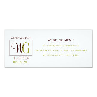 Wedding Menu Card with Custom Monogram Logo