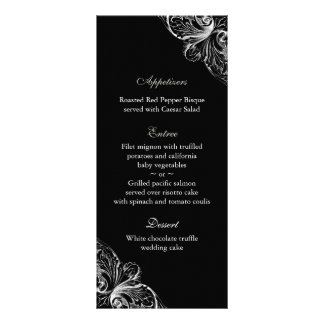 Wedding Menu Cards Elegant Monogram Black White
