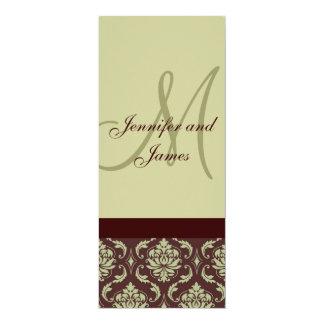 Wedding Menu Cards Monogram Taupe Brown Damask