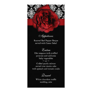 Wedding Menu Cards Red Rose Damask