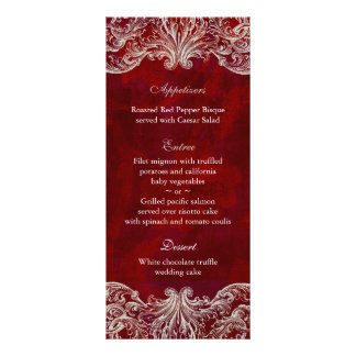 Wedding Menu Cards Red Rose Garden