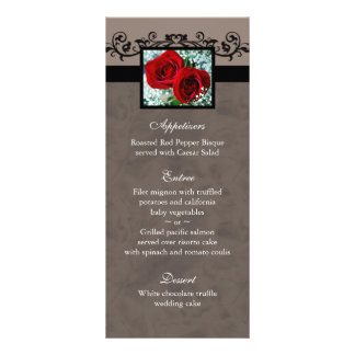 Wedding Menu Cards Red Roses Heart