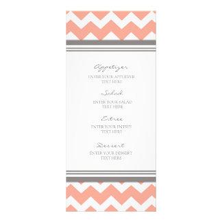 Wedding Menu Coral Gray Chevron
