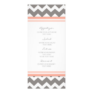 Wedding Menu Coral Gray Chevron Rack Cards