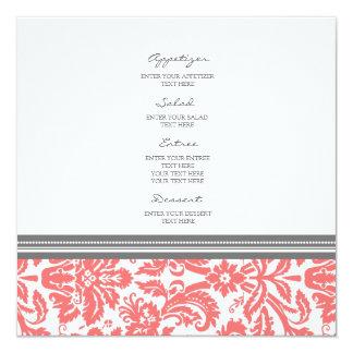 Wedding Menu Coral Grey Damask Pattern Card