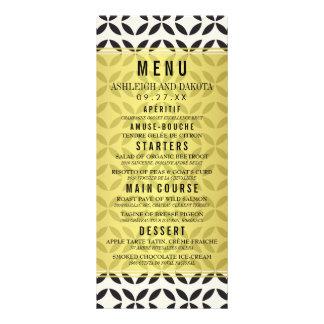 Wedding Menu | Cream & Black Geometric Pattern Custom Rack Cards