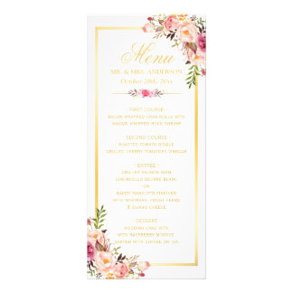 Wedding Menu Elegant Chic Gold Frame Floral Full Color Rack Card