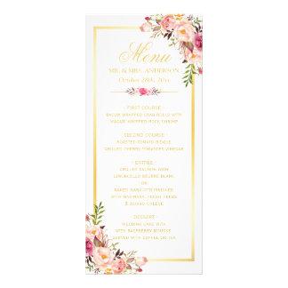 Wedding Menu Elegant Chic Gold Frame Floral Full Color Rack Card