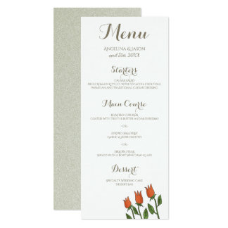 Wedding Menu Floral Watercolor Spring White Pure Card